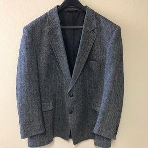 💫JOS A BANK Black/Gray Tweed Wool Sport Coat* 50R